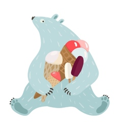 Polar Bear and Ice Cream vector image