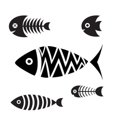 Set of icons of fish vector image
