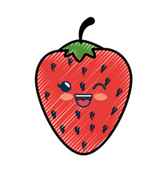 strawberry cartoon smiley fruit vector image vector image