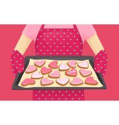 Sweet heart shape cookies vector image