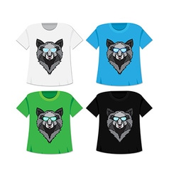 Wild wolf t-shirt vector image vector image