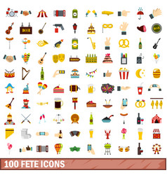 100 fete icons set flat style vector image