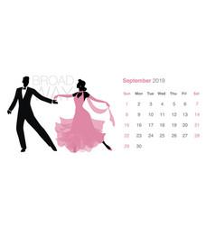 2019 dance calendar september elegant couple vector image