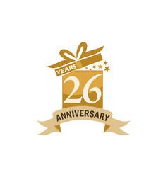26 years gift box ribbon anniversary vector