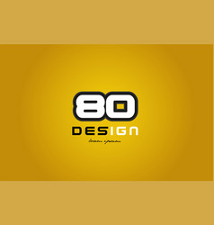 80 number numeral digit white on yellow background vector