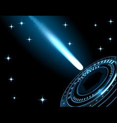 A bright comet a meteor a spaceship a rocket vector