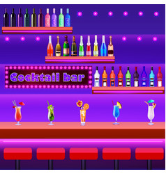 a cocktail bar with a bar counter with cocktails vector image