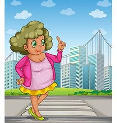 A fat girl at street across tall buildings vector