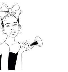 a sketch beautiful woman with a pink bow and vector image