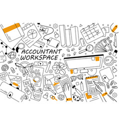accountant workspace doodle set vector image