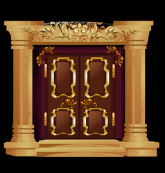 antique door with gold ornaments isolated on a vector image