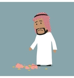 Arab businessman with broken piggy bank vector image