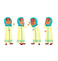 Arab muslim girl poses set primary school vector