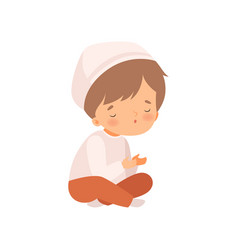 arabic muslim boy character sitting with crossed vector image