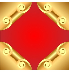 Background with corners curl of gold vector