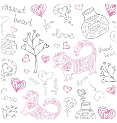 background with different cute animals and objects vector image