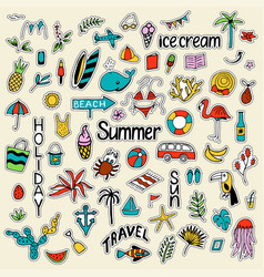 background with summer set of isolated cute vector image