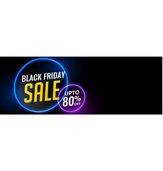 black friday neon light sale banner design vector image
