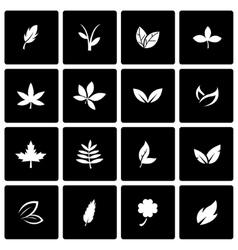 black leaf icon set vector image