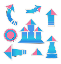 blue paper arrow and pink paper pink stickers vector image
