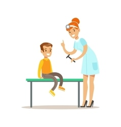 Boy On Medical Check-Up With Female Pediatrician vector