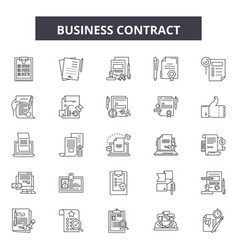 business contracts line icons signs set vector image