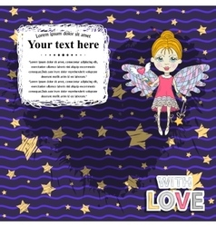 Card design with fairy vector image