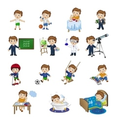 Cartoon boys daily activities vector