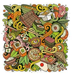 Cartoon color doodles japan food vector