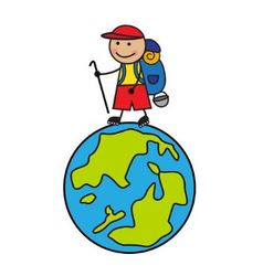 Cartoon tourist with a backpack going up globe vector