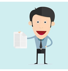 cartoon with paper note in flat design vector image