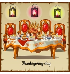 Ceremonial table with classic cheir and food vector