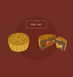 Chinese cuisine moon cake sketch vector