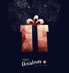 Christmas and new year copper low poly gift card vector