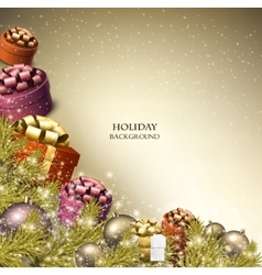 christmas background with gifts xmas boxes vector image