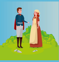 Cinderella with prince in scene fairytale vector