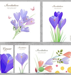collection invitation cards with crocus for your vector image