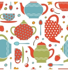 Colorful tea party seamless pattern vector