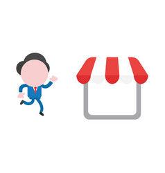 Concept of faceless businessman character running vector
