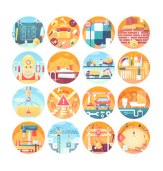 construction concept icons set collection flat vector image