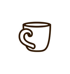 cup of coffee tea with line icon black on white vector image