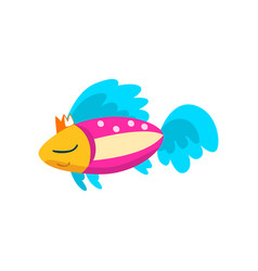 cute colorful fish in golden crown little sea vector image