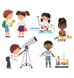 Cute pupils activity in school set little vector