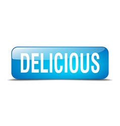 delicious blue square 3d realistic isolated web vector image