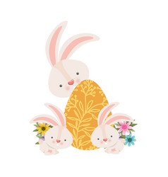 easter rabbits with egg isolated icon vector image