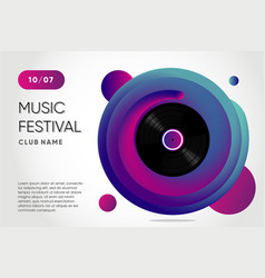 event poster for music festival vinyl record with vector image