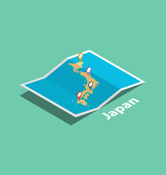 Explore japan maps with isometric style and pin vector