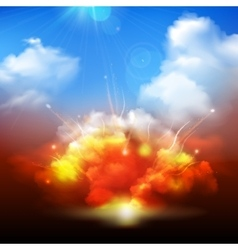 Explosion clouds and blue sky banner vector