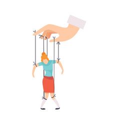 Female marionette on ropes controlled hand vector