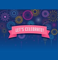 fireworks and celebration victory poster design vector image